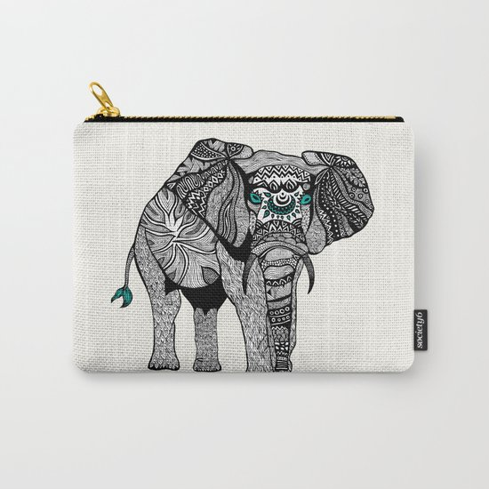 Tribal Elephant Black and White Version Carry-All Pouch