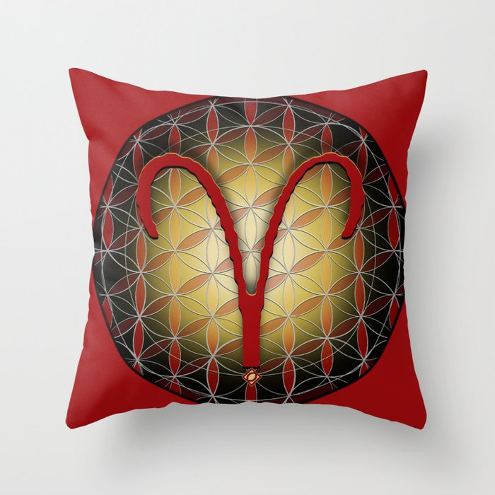 Flower of Life ARIES Astrology Design Throw Pillow