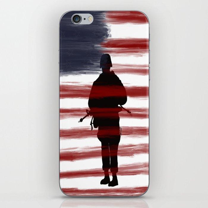 Soldier and Flag - Patriotic iPhone Skin