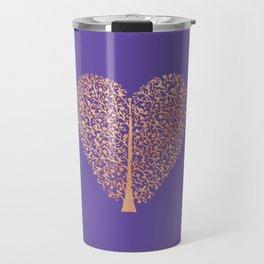 Rose Gold Foil Tree of Life Heart Travel Mug