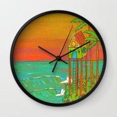 Surf Paradise Dream Home House on Stilts Wall Clock