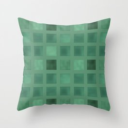 Colorful geometric pattern grunge Tile . Green emerald color . Throw Pillow