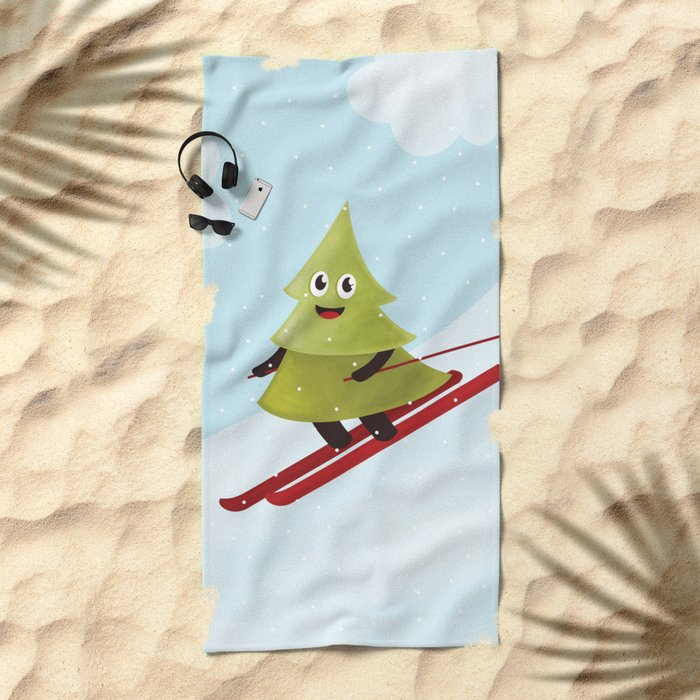 Happy Pine Tree on Ski Beach Towel