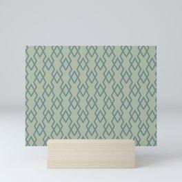 Soft Aqua Blue Green Tessellation Line Pattern 19 2021 Color of the Year Aegean Teal Salisbury Green Mini Art Print