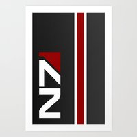 n7 Art Prints featuring Mass Effect - N7 Hardcase by Dustin Dailey