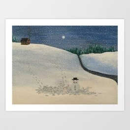 Winter landscape snowman Art Print