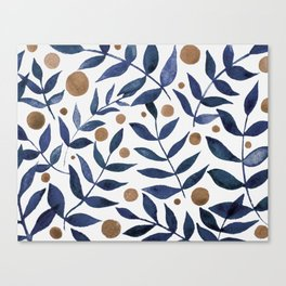Watercolor berries and branches - indigo and beige Canvas Print