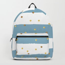 Golden confetti on blue stripes Backpack