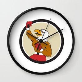Bald Eagle Boxer Pumping Fist Circle Cartoon Wall Clock