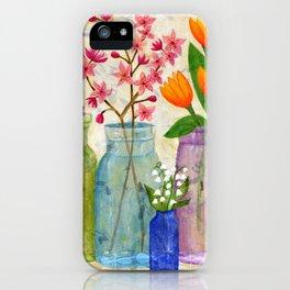 Springs Flowers in Old Jars iPhone Case