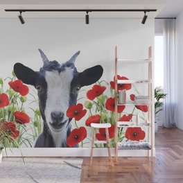 Goat between Poppies Field Wall Mural
