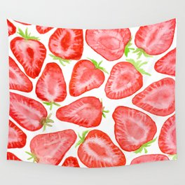 Watercolor strawberry slices pattern Wall Tapestry