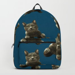 night sky skydiving funny flying cat Backpack