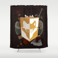 kit king Shower Curtains featuring Adventurer's kit by Armored Collective