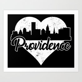 Retro Providence Rhode Island Skyline Heart Distressed Art Print