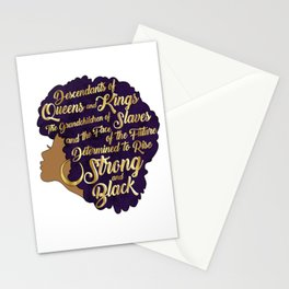 Black Girl Magic - Descendants of Queens and Kings Determined To Rise Faux Gold Afro Woman Stationery Cards