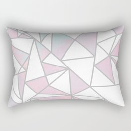 Modern white pink teal watercolor geometrical shapes Rectangular Pillow