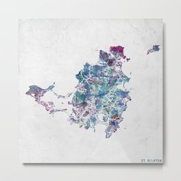 St Martin map Metal Print