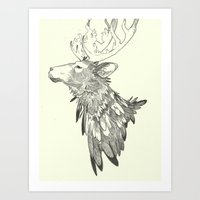 stag Art Prints featuring Stag by Breakell