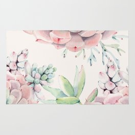 Pink Succulents on Cream Rug