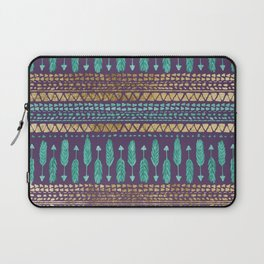 Gold Teal and Purple Arrows Tribal Aztec Pattern Laptop Sleeve