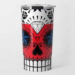 Sugar Skull with Roses and Flag of Costa Rica Travel Mug