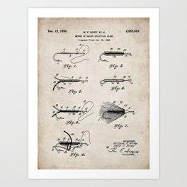 Fly Fishing Patent - Fisherman Art - Antique Kunstdrucke
