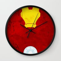 iron man Wall Clocks featuring Iron Man by theLinC