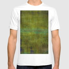Green burrows ~ Abstract MEDIUM Mens Fitted Tee White