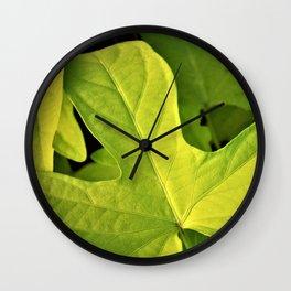 Golden Green Oak Leaves Wall Clock