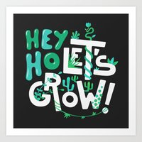 ramones Art Prints featuring Hey ho ! Let's grow ! by Felix Rousseau