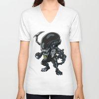 alien V-neck T-shirts featuring Alien by 7pk2 online