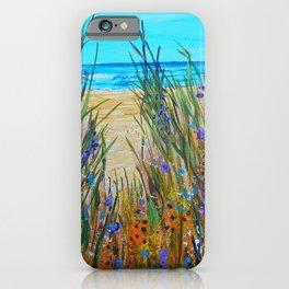 Beach flowers, impressionism ocean art, wildflowers on the beach iPhone Case