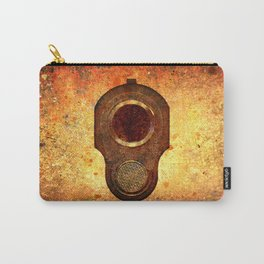 M1911 Colt Pistol Muzzle On Rusted Background Carry-All Pouch
