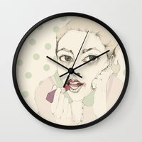 lipstick Wall Clocks featuring lipstick by Cecilia Sánchez