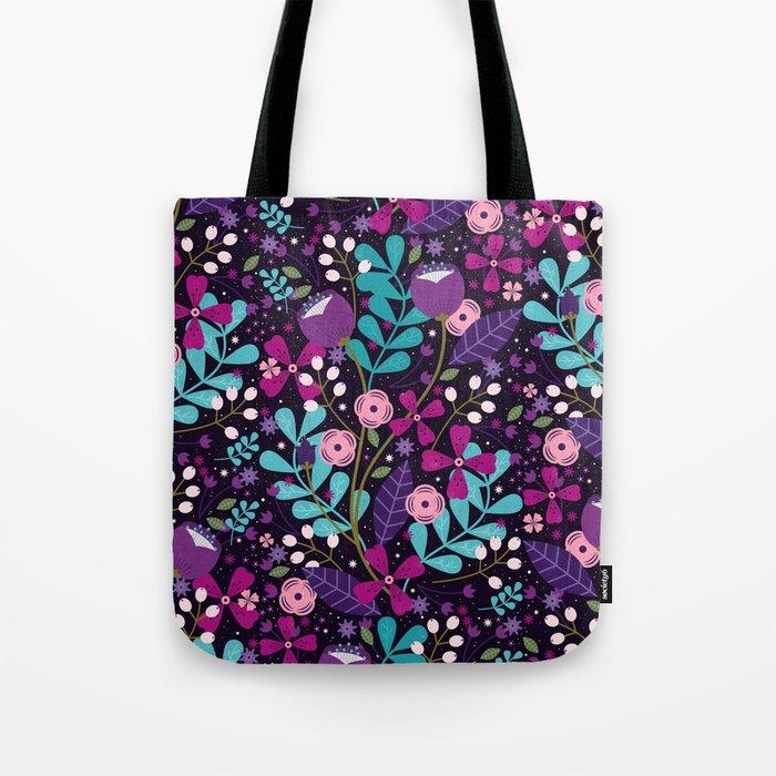 Starlight Blooms Tote Bag