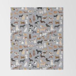 Mixed Dog lots of dogs dog lovers rescue dog art print pattern grey poodle shepherd akita corgi Throw Blanket