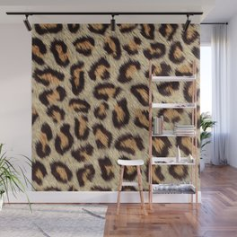 Brown spots leopard faux fur pattern Wall Mural