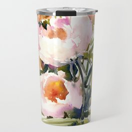 Soft Pink Peonies Asian watercolor Peonies, soft pink, olive green Travel Mug