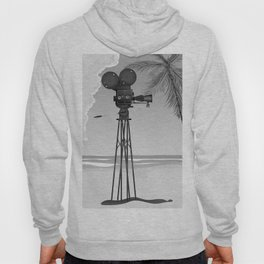 Vintage old time movie camera on a beach Hoody