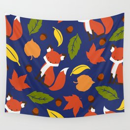 Fox Jumble - Blue Wall Tapestry