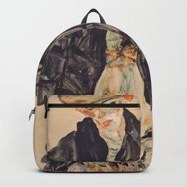 "Egon Schiele ""Selbstbildnis als Halbakt in schwarzer Jacke (Self-portrait in a black jack)"" Backpack"