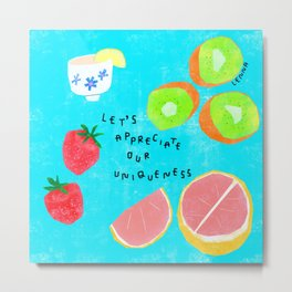 Fruits Appreciate Their Uniqueness - body positive self-love illustration Metal Print