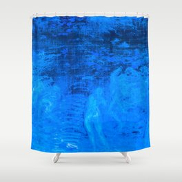In liquid Indigo Shower Curtain
