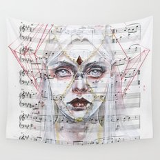 Queen of Diamonds on sheet music Wall Tapestry