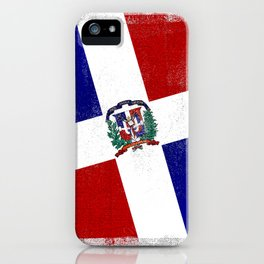 Dominican Republic Distressed Halftone Denim Flag iPhone Case