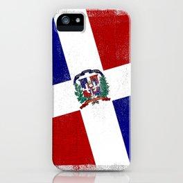 Dominican Republic Distressed Halftone Denim Flag iPhone Case
