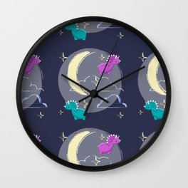 Blue and pink cute dinosaurus, night, moon and stars Wall Clock
