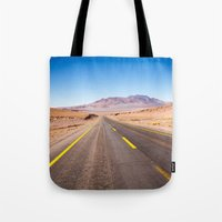 chile Tote Bags featuring Route 27, Atacama - Chile by klausbalzano