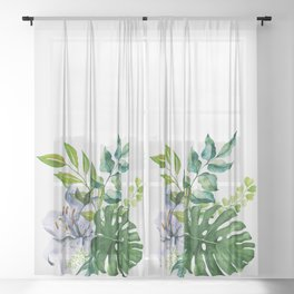 Flower and Leaves Sheer Curtain